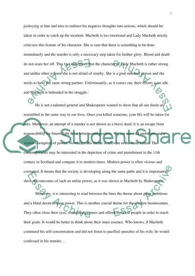 macbeth representations essay example The predictions shown in the visual representation are an example of macbeth  we will write a custom essay sample on fate vs free will in macbeth .