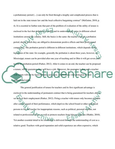 Research on Tenured Teachers in the School System