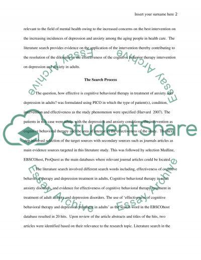 Nursing - Literature Search essay example