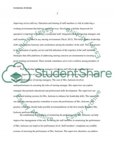 Nursing Power essay example