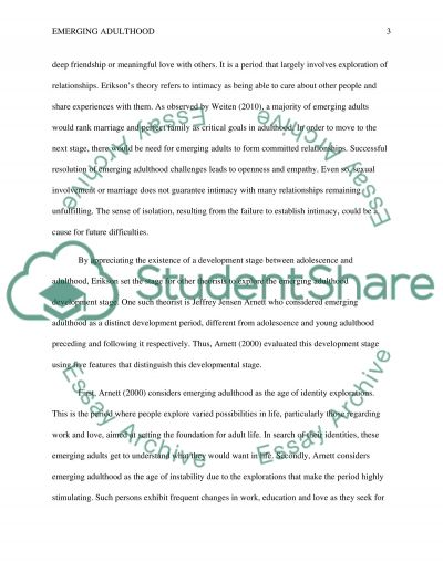 Emerging adulthood essay