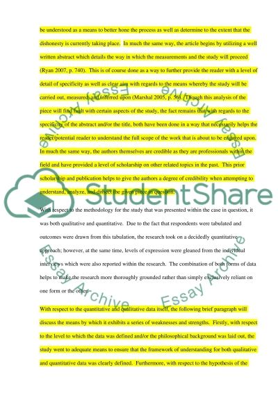 Research critique Essay example