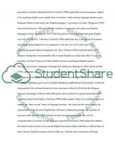 Bilingual Education Curriculum essay example