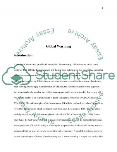 Global Warming essay example