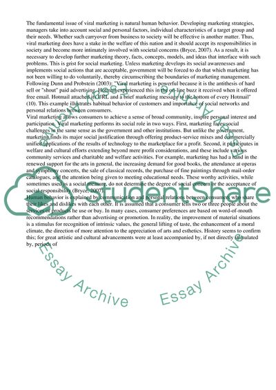 viral marketing essay example  topics and well written essays