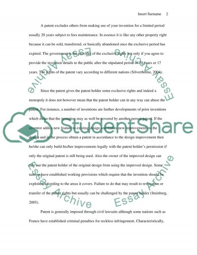 Law of Patents essay example