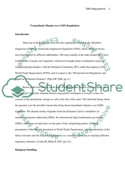 Genetically Modified Organisms Essay example