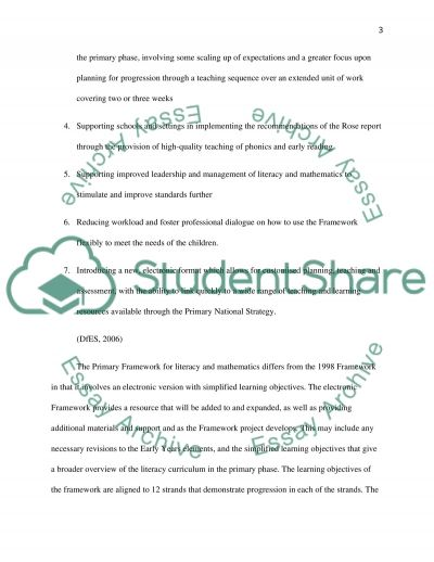 The Primary Framework for Literacy and Mathematics essay example