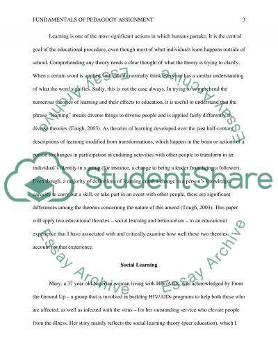Fundametals of pedagogy assignment essay example