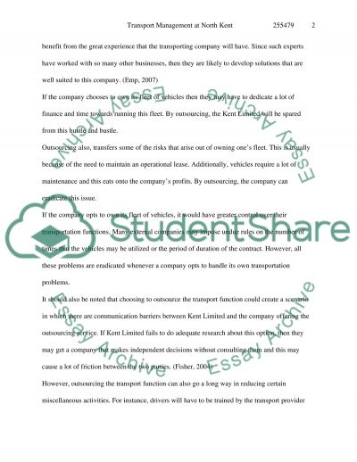 Transport Management of Herne Organics essay example