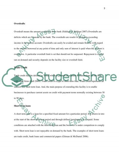 Financing the Short Term Obligations of The Business essay example