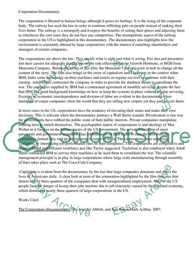 Sample Of Research Essay Paper Reaction Paper On Corporation Documantry High School Reflective Essay Examples also Argumentative Essay Examples High School Reaction Paper On Corporation Documantry Essay Example  Topics And  Simple Essays In English