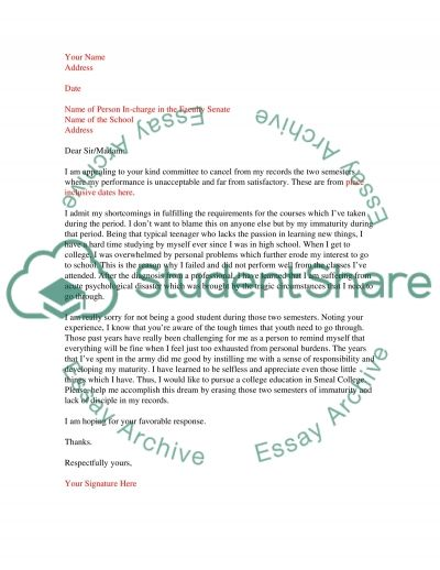 Letter to Facuty Senate essay example