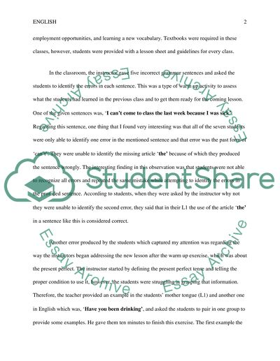 class observation report essay example