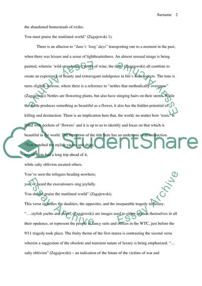 ESSAY of POETRY ANALYSIS