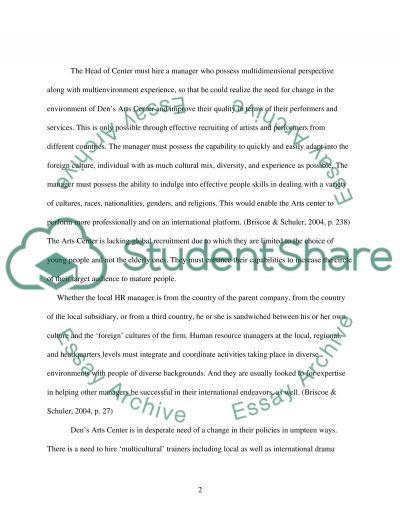 Den Arts Center essay example