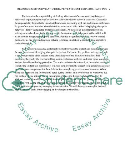 Comprehensive Classroom Management Plan : Responding Effectively to Disruptive Behavior