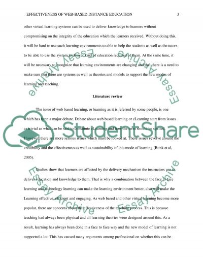 Literature review (Effectiveness of Web-based Distance Education) essay example