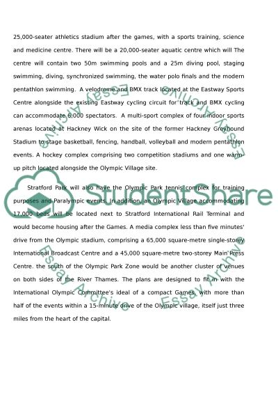 Cultural Landscape and Regeneration (The Olympic Stadium 2012) essay example