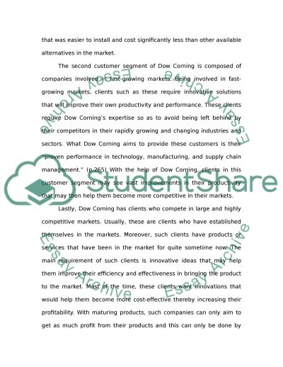 Dow Corning Customer Value and Segmentation essay example