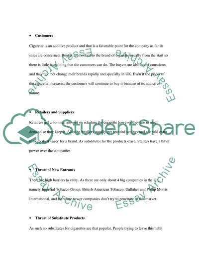 UK Micro Environment Factors for a Tobacco Company Essay