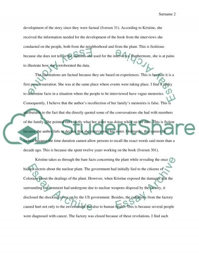 Reflective writing baased on Full Body burden essay example