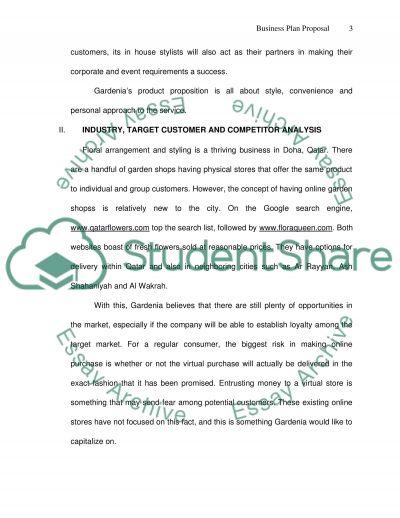 Business plan proposal: Gardenia Online Garden Shop essay example