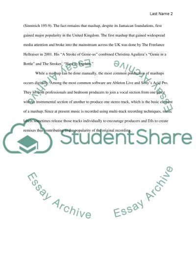 Mashup, remix, fandom, intertextuality, music simulacrum essay example