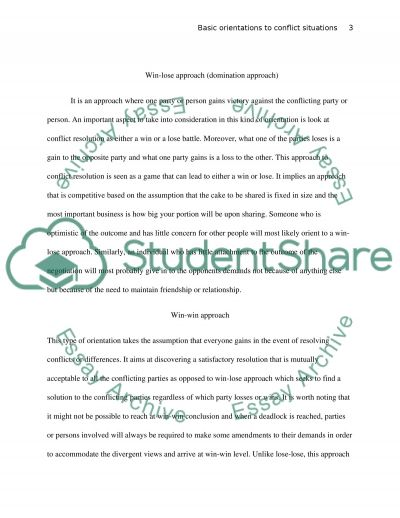 Basic Orientation to Conflict Situations essay example