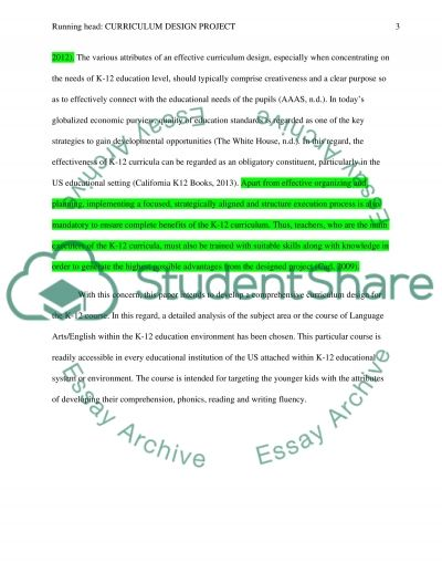 Curriculum Design Project essay example
