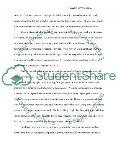 Psychology (Work motivation) essay example