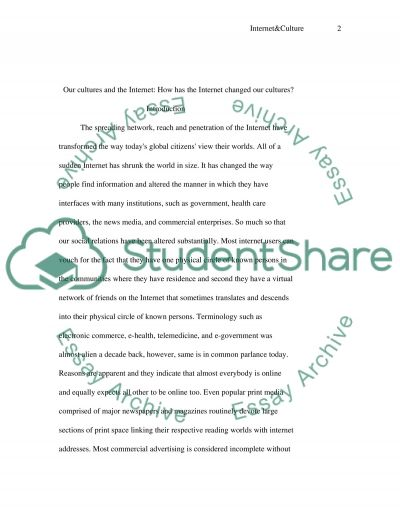 Internet and Culture essay example