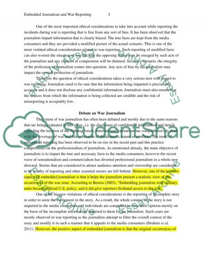 Embedded Journalism and War Reporting essay example