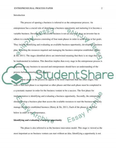 Entrepreneural process paper