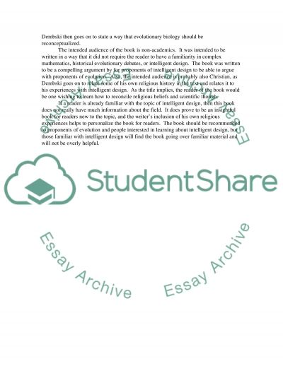 Intelligent Design (Book Report) essay example
