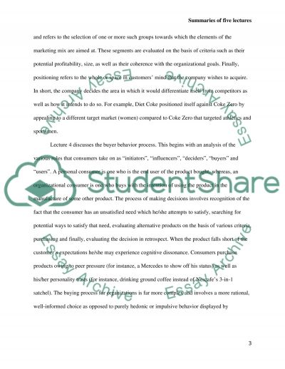 Summaries of Five Lectures essay example
