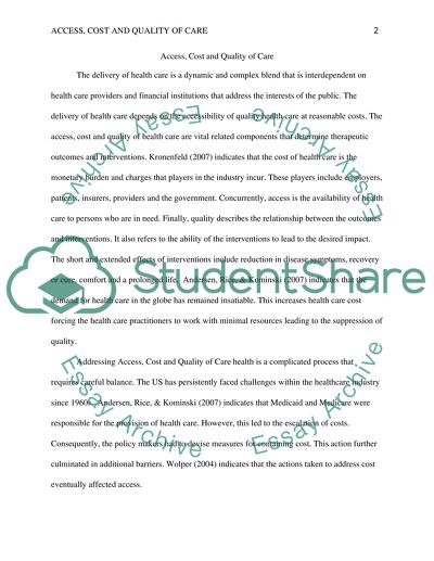 access cost and quality of care essay example  topics and well  access cost and quality of care