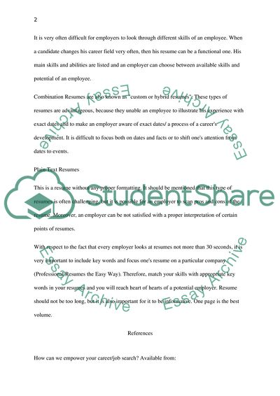 Resume and Cover Letter Construction Essay Example | Topics ...