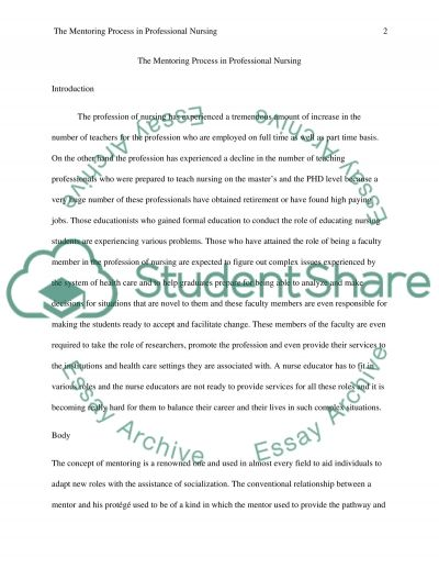 The Mentoring Process in Professional Nursing essay example