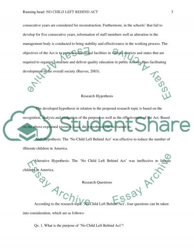 NO Child Left Behind Act essay example