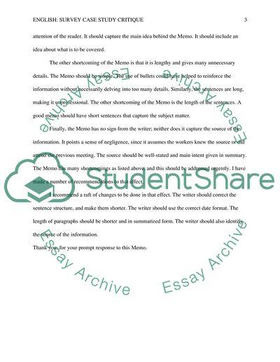 Instructions/Survey Case Study; Critique, Description or Definition, and Online Exploration
