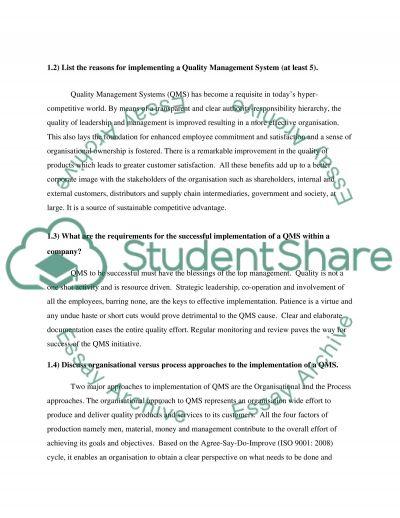ISO 9001 essay example