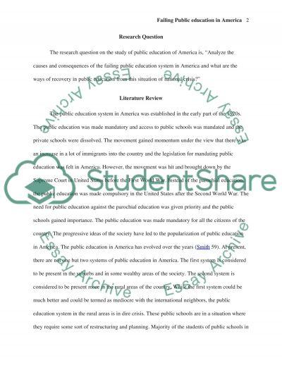 Failing Public Education in America essay example