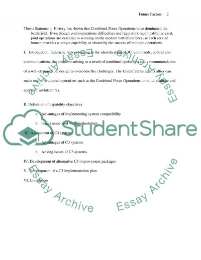 Future Factors associated with Combined Operations essay example