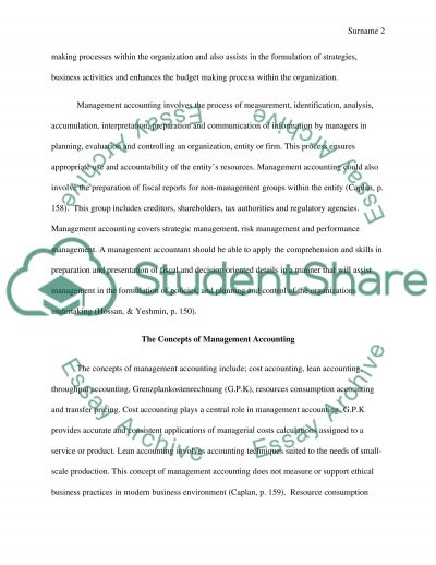 The Concept of Management Accounting essay example