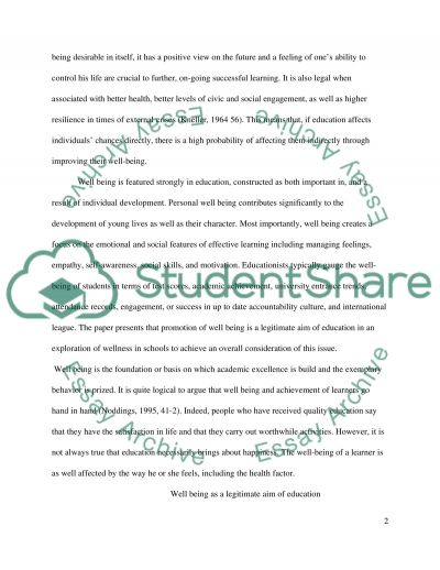 Well-Being And Education essay example