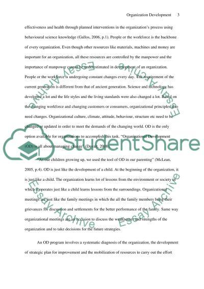 Understanding Organisation Development essay example