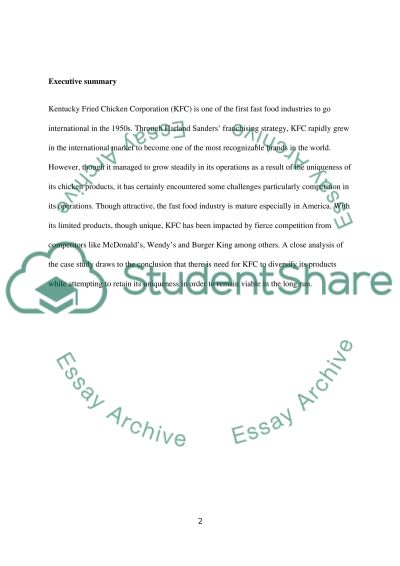 KFC topic and marketing yes essay example