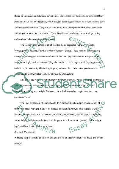 Impact of Shame on Childhood Obesity: Perceptions of Teachers towards Obese Students: A Quantitative Study essay example
