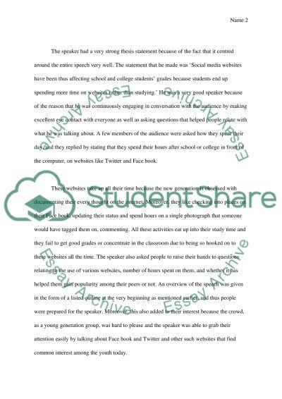 A live speech essay example